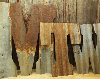 Rusty Tin Letters, FREE Shipping, Monogram Rustic Letter, Large Letters, Home  Decor