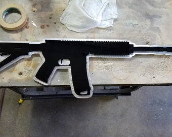 AR 15 cut out metal art. Single or 2 layer like image.