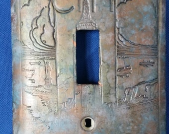 OOAK New York Motif Polymer Clay Switchplate / Light Switch Cover