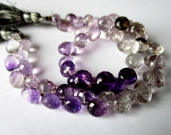 Shaded Amethyst faceted onion briolette- 7mm- 8 briolette