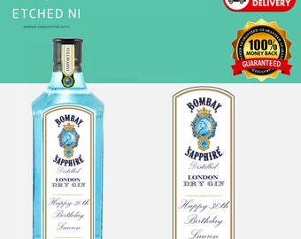 Personalised Bombay Sapphire Gin Label 70cl ***FREE POSTAGE***