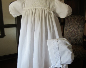 Christening Gown, Heirloom, White, Baptism, #717