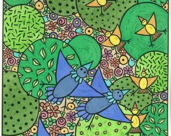 Colourful relief print, birds and nature, children's art, original limited edition print, linocut print, bird's-eye view