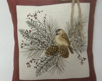 Chickadee Mini Pillow Bird On Branch Pine Cones and Berries Gift For Bird Lover Nature