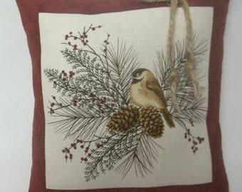 Chickadee Mini Pillow Bird Shelf Pillow