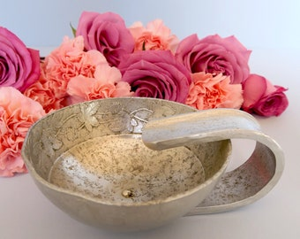 Antique Pewter Bowl with Handle