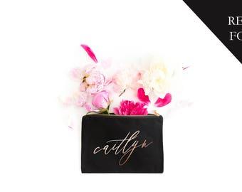 Personalized Make Up Bag, Foil Cosmetic Bag, Travel Case, Bride, Makeup Bag, Gift for Her, Gifts, Bridal Shower Gift, Multiple Colors, Foil