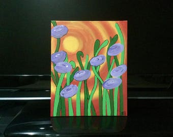 Abstract Flowers Acrylic Painting Summer Positive Free Shipping 10x8 Free Shipping Signed Fall Autumn Fantasy