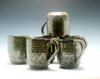 Coffee Mug, 10 oz, handthrown ceramic mug, stoneware pottery mug, textured coffee mug metallic green and brown/Ceramics and Pottery