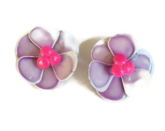 Purple White & Pink Enamel Flower Earrings Vintage Flower Power
