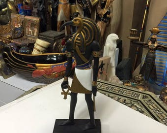 Unique Hand Gold  Leafed and Detailed  Egyptian God Thoth Statue