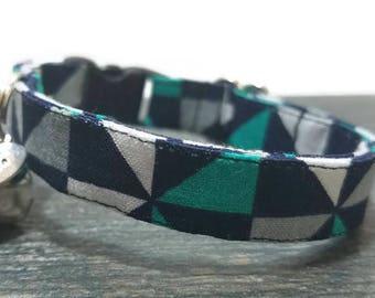 Geometric Cat Collar,Triangle cat collar,Gray/Teal Cat Collars, Breakaway Collars, Cotton Cat Collars, Cat Collars, Kitty Collar, Cat Collar