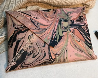 Hand Marbled Envelope Clutch