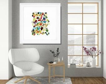 Retro Wall Art, Framed Wall Art, Abstract Art Print, Framed Art Print,