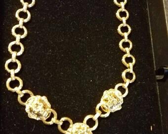 Kenneth j Lane Lions Head gold Necklace vintage