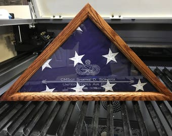 Flag Box - Flag Display Case - American Flag - Military - Retirement - Air Force - Army - Marines - Navy - 5 x 9 - Custom Laser Engraving