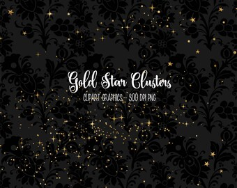 Gold Star Clusters Clipart, gold star clipart, star clip art, night sky, glitter, digital galaxy overlays, png digital instant download