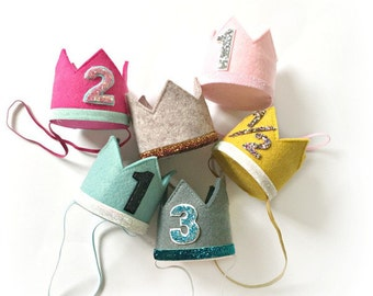 Design Your Own Felt Birthday Crown || Customize Colors And Number || Cake Smash || Little Blue Olive || Heirloom Quality!