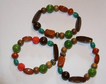 Fall Colors Chunky Bracelet Set