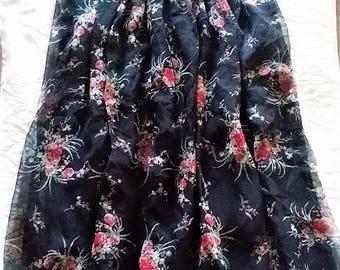 Black floral slip skirt