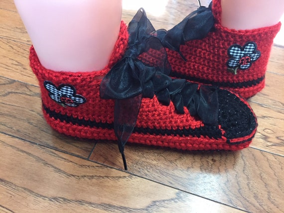 slippers List sneaker shoe tennis red flower slippers slippers 7 red sneakers ladybug ladybug Womens sneakers 295 9 black slippers Crocheted qwvEU5w