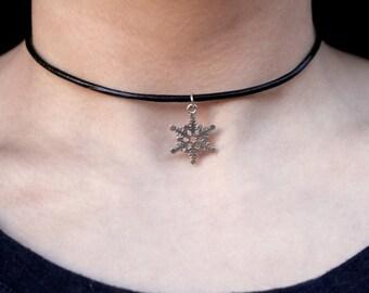Vegan Leather Christmas Snowflake Choker