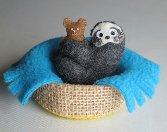 Sloth plush in basket with teddy bear and fleece blanket play set -rain forest animal toy