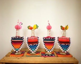 MEXICAN BEER PONCHOS 4 pack / Gifts for Him / Gifts for Her / Mexican Decor / Cinco De Mayo decorations / party decor / gifts for men