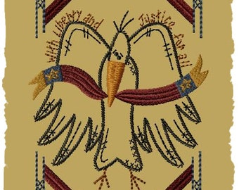 Primitive Machine Embroidery Design-Liberty Crow-- (5x7)-INSTANT DOWNLOAD
