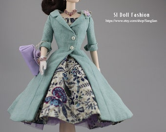 vintage dress with coat ensemble for Silkstone Barbie and Poppy Parker by SL Doll Fashion