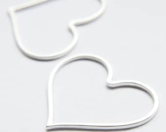 One Piece Premium Matte Silver Plated Base Metal Charm - Link - Heart 44x38mm (153C-Q-11)