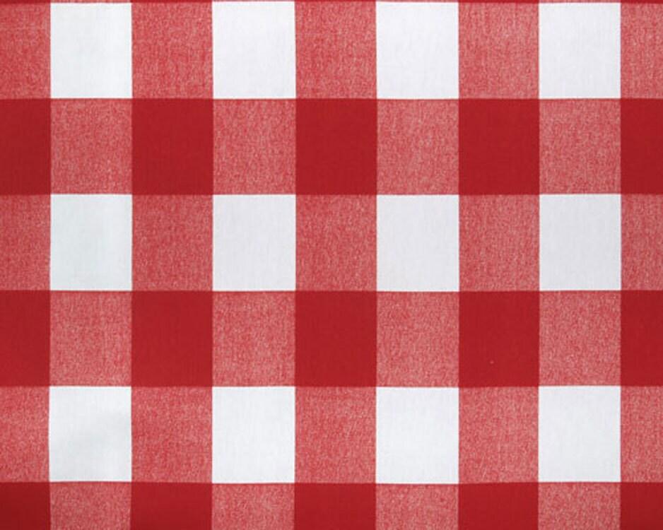Red And White Buffalo Check Fabric Designer Drapery Fabric