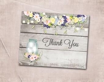 Thank You Card Wedding Floral Mason Jar String Lights Gray Rustic Barn Wood Pink Purple Yellow Bohemian Printable Digital