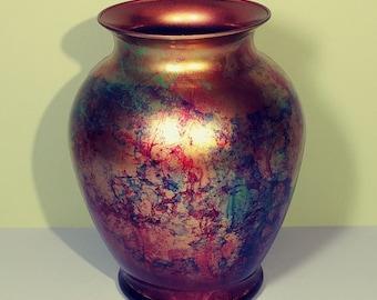 "7"" Tall Colorful Metallic Swirl Painted Glass Art Flower Vase Ginger Jar Decorative Table Shelf Gallery Mantel Decoration Wedding Gift Idea"