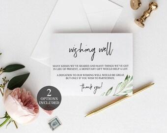 Wishing Well Cards   Greenery Printable Wedding Wishing Well   Printable Wishing Well Cards   Leaf Wishing Well Poem   Wishing Well Inserts
