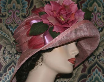 Kentucky Derby Hat Ascot Edwardian Hat Gatsby Hat Downton Abbey Hat Church Hat One of a Kind Titanic Women's Pink Easter Hat - Rosy O'Brian