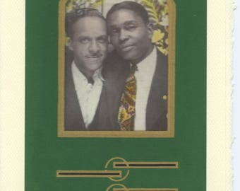 Just Hanging: Vintage LGBTQ+ Card - gay African American boyfriends, brothers Father's Day card, black love, gay engagement, husbands card