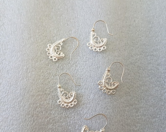 Filigree silver drill earring