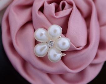 10 Rhinestone Pearl Flat back Buttons - Pearl Embellishments - Flatback RD72