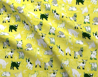 Goat Fabric - Baby Goats By Friztin - Yellow Modern Baby Goat Nursery Decor Cotton Fabric By The Yard With Spoonflower