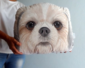 Shih Tzu Dog Pillow, Custom Pet Portrait  Plush Pillow -XL SIZE , Personalized  gift for pet lovers