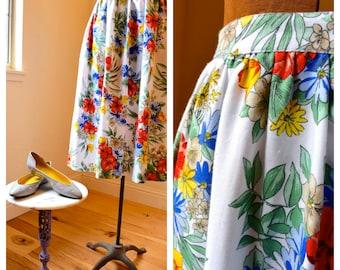 Vintage 1980's Spring Floral Skirt Bright & Beautiful Summer Skirt Sm./Med.