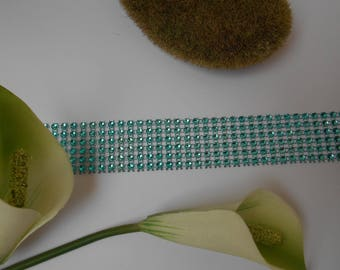 Ribbon effect turquoise rhinestone with 50cm / 3cm