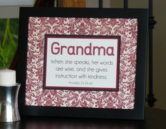 scripture gift for Grandma Proverbs 31 red brocade