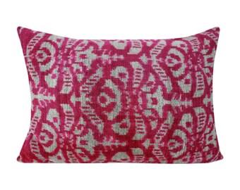 Silk Velvet Ikat Pillow Cover VP21, Bohemian pillow, Velvet Ikat Pillow, Velvet Pillow, Velvet Pillow Cover, Ikat Pillows, Throw Pillows