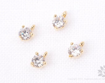 P656-G// Gold Plated 3mm Cubic Round Pendant, 6 pcs