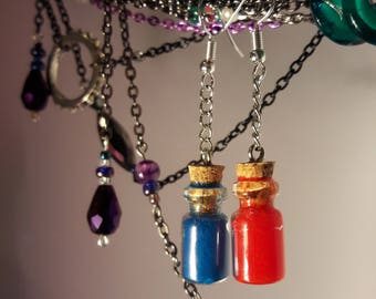 Mana and health potion earrings magic game inspired drink