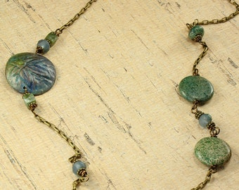 Flower Necklace in Blues and Greens