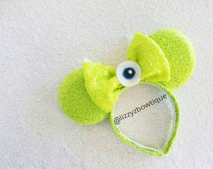 Monsters Inc Mike Wazowski Sequin Minnie ears