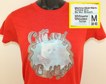 70s WTF cute and cuddly kitten fighter jet iron-on graphic vintage t-shirt Tall XS/S red soft thin cat
